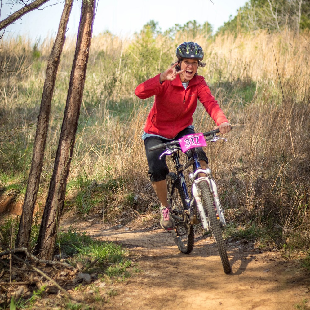 Woman in mountain bike race