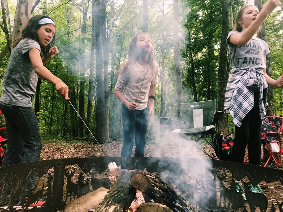 Kids roasting marshmellows