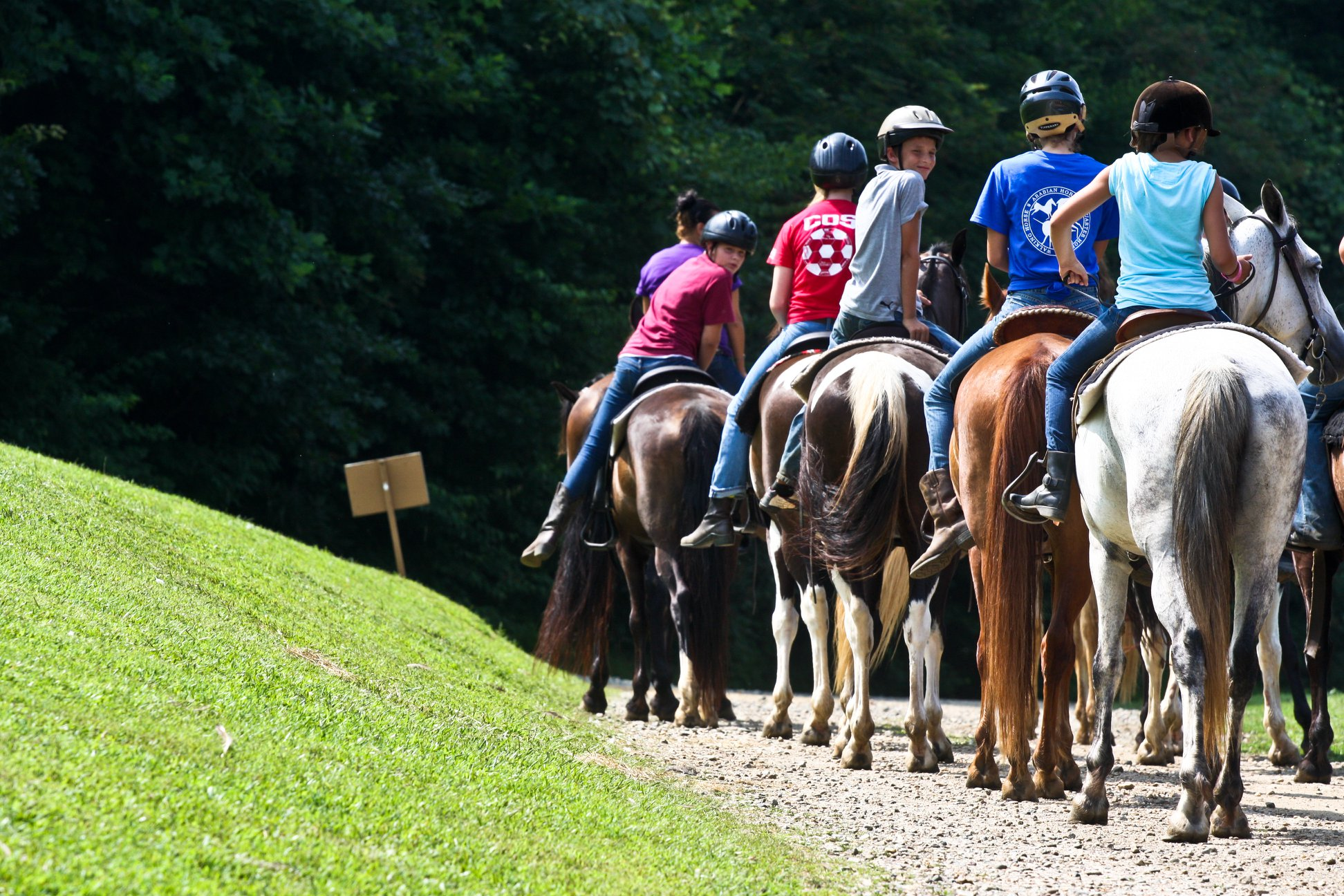 Girls riding horses at Greenway Summer Camp