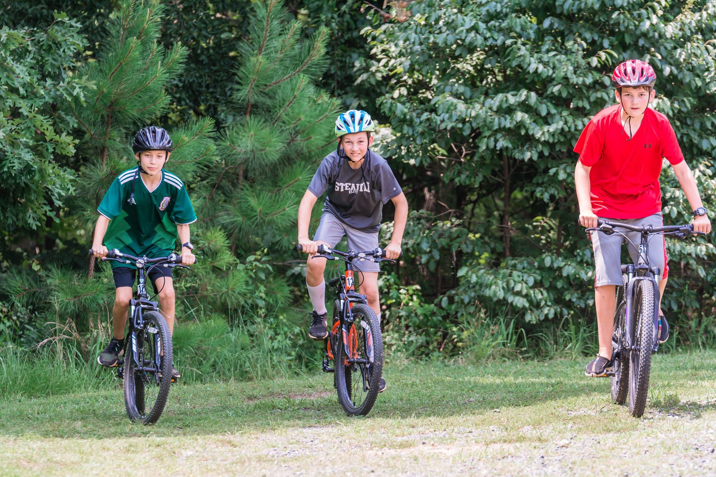 Boys mountain biking at Greenway Summer Camp