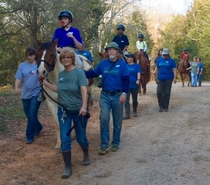 Volunteers with horses