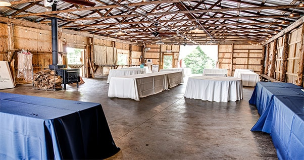 Tables at a wedding venue