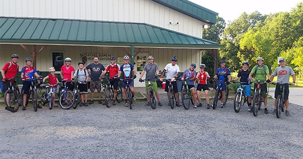 Group of Mountain Bikers about to take a ride